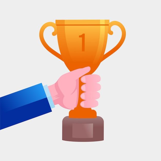 La mano del trofeo dei vincitori con il trofeo d'oro è un simbolo di vittoria in un vettore piatto di un evento sportivo