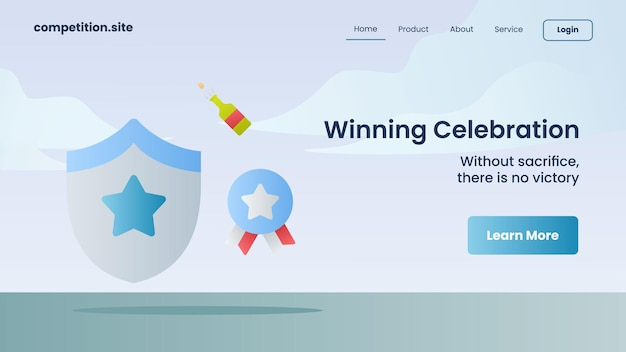 Celebrazione vincente con slogan senza sacrificio non c'è vittoria per l'illustrazione vettoriale della homepage di atterraggio del modello di sito web