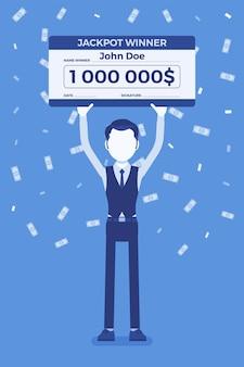 Biglietto della lotteria vincente, uomo felice con un assegno gigante