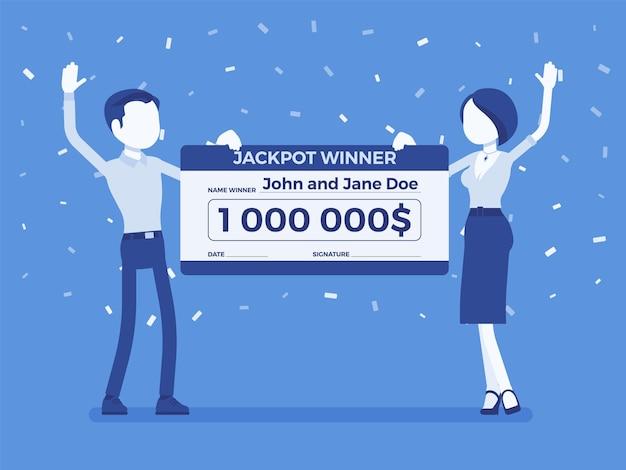 Biglietto vincente della lotteria, coppia felice con un assegno gigante