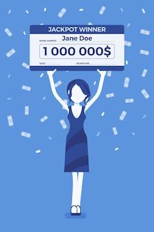 Biglietto della lotteria vincente, donna felice con un assegno gigante