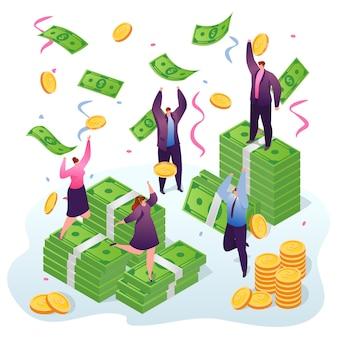 Vincere soldi, uomini d'affari e prendere dollari e monete d'oro sotto la pioggia di soldi. vincitori di fortuna, successo nelle finanze e investimenti aziendali. ricchezza e ricchezza.