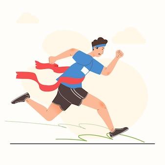 L'atleta di corsa vincente attraversa l'illustrazione del traguardo