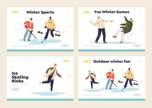 Concetto di attività invernali del set di pagine di destinazione del modello: hockey, pattinaggio, palle di neve. i giovani si divertono all'aperto in inverno.