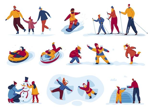 Attività invernali set all'aperto illustrazione vettoriale persone piatto uomo donna carattere sci pattinaggio giro snowboard durante la stagione della neve isolato su bianco
