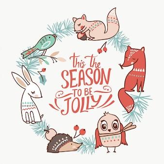 Cartolina di natale animale invernale