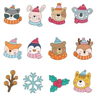 Animali d'inverno clipart, animali buon natale