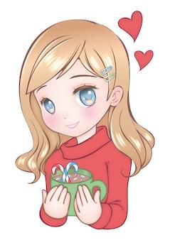 Winter anime cute little girl