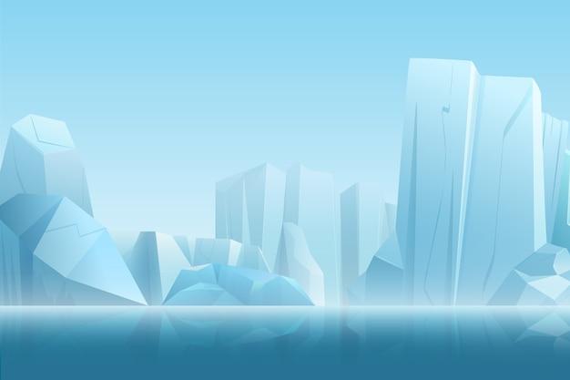 Paesaggio artico invernale con iceberg in acqua pura blu scuro e montagne di neve colline nell'illustrazione morbida nebbia bianca