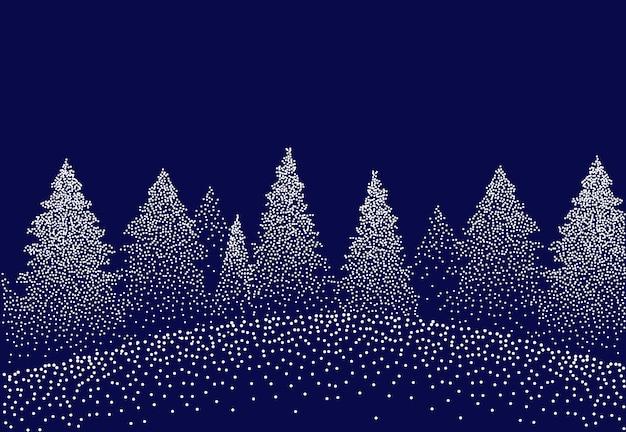Paesaggio invernale di sfondo con abeti e pini nella neve stelle del cielo notturno della foresta di conifere