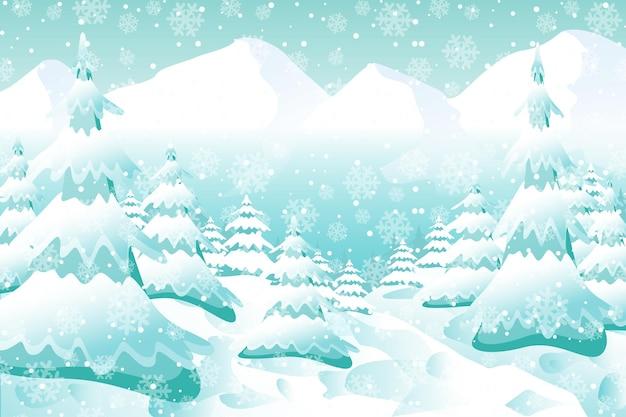 Sfondo invernale, paesaggio boschivo innevato. vector vacanze inverno paesaggio