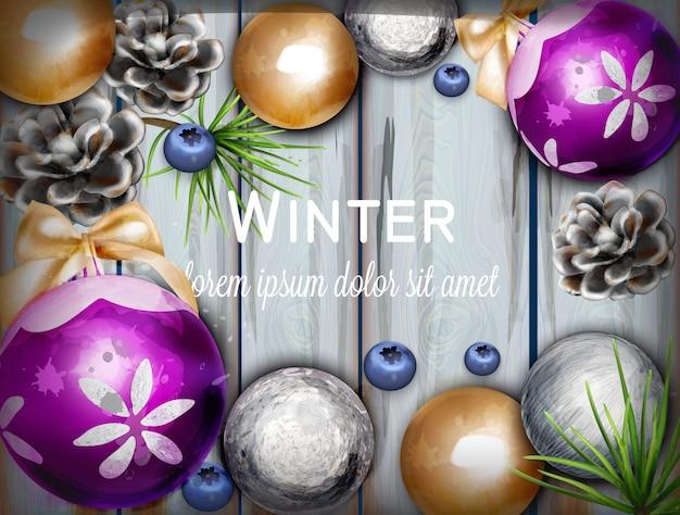 Sfondo invernale con acquerello di decorazioni carina