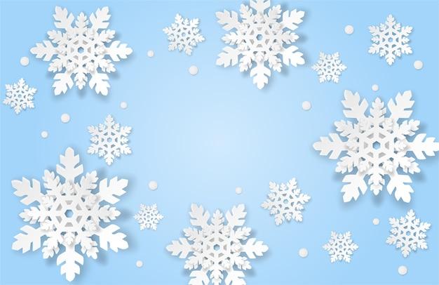 Sfondo invernale con fiocchi di neve in stile arte carta
