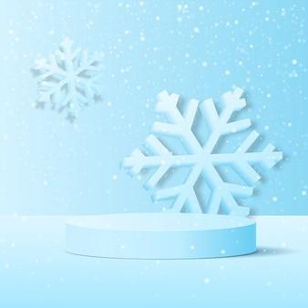 Sfondo invernale con una piattaforma per la presentazione del tuo prodotto