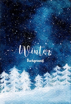 Sfondo invernale con nevicata pineta e notte stellata