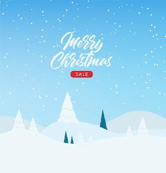 Banner invernale, buon natale, banner vacanza, paesaggio invernale