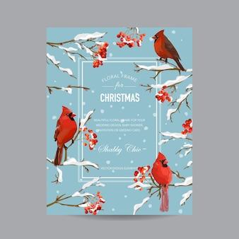 Cornice o biglietto d'inverno con uccelli e bacche