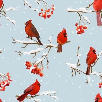 Uccelli invernali con sfondo retrò di bacche di sorbo