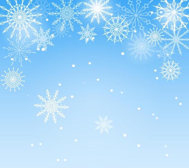 Sfondo blu invernale con fiocchi di neve