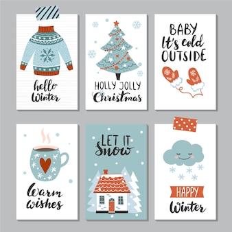 Set di carte invernali modello di disegno vettoriale di poster carino disegnato a mano