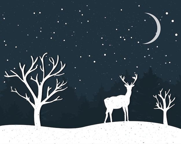 Carta invernale con renne in piedi e sagome di alberi nudi.