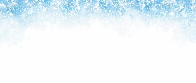 Inverno e natale sfondo design di neve e fiocco di neve su acquerello blu con illustrazione vettoriale spazio copia