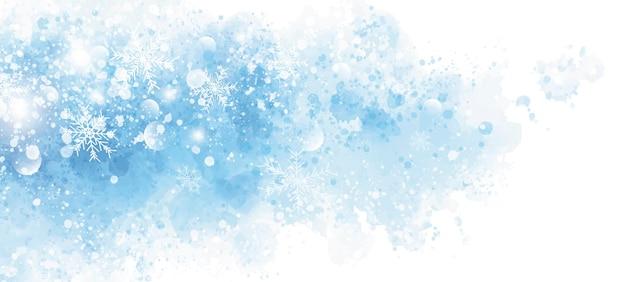 Disegno di sfondo invernale e natalizio di fiocco di neve su acquerello blu con spazio di copia