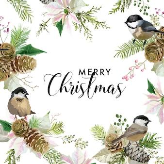 Biglietto d'auguri con uccelli di natale invernale