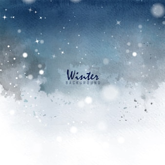 Acquerello della macchia dipinto a mano della cartolina di natale di inverno. sfondo arte decorato con bokeh, stelle e neve che cadono in inverno.