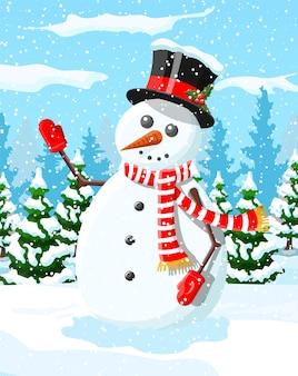 Cartolina di natale invernale con pupazzo di neve