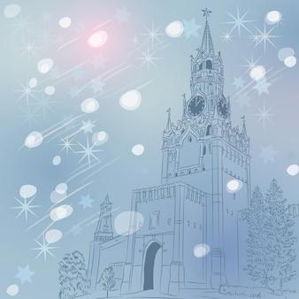 Paesaggio urbano invernale di natale della torre spasskaya della vista del cremlino russia di mosca dalla piazza rossa