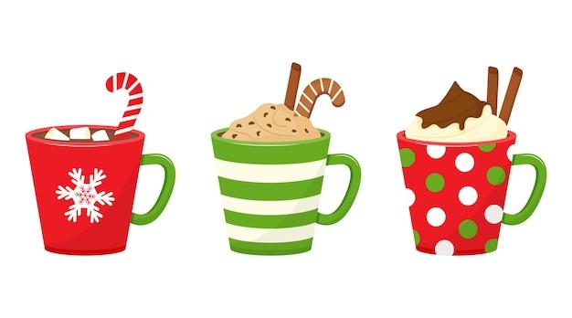 Tazze natalizie invernali con bevande. tazze natalizie con cioccolata calda, cacao o caffè e panna. bastoncino di zucchero, bastoncini di cannella, marshmallow. illustrazione