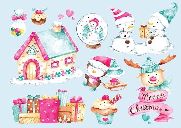 Inverno e natale doodle in stile acquerello