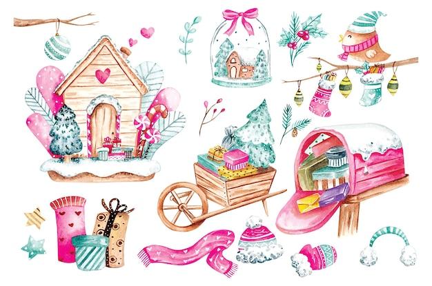 Inverno e natale doodle in acquerello