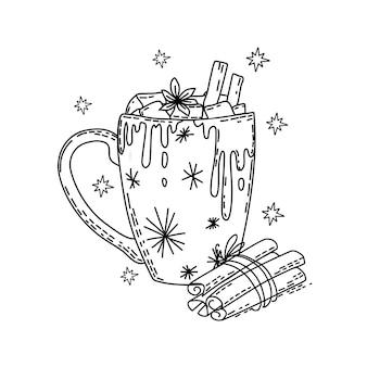 Bevanda di natale invernale con marshmallow e cannella libro da colorare vector