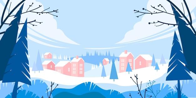 Paesaggio di vacanze invernali di natale con neve, sagoma di alberi di pino, villaggio in cumuli, colline