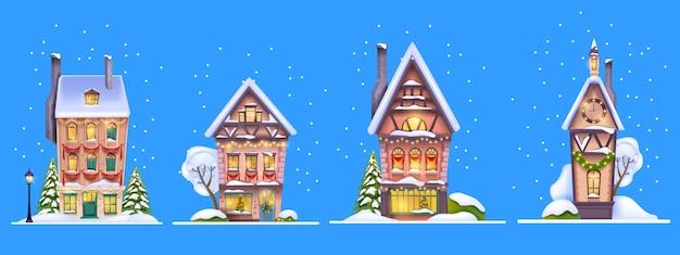 Inverno natale casa set vettore neve natale villaggio strada facciata piccola città europea edificio