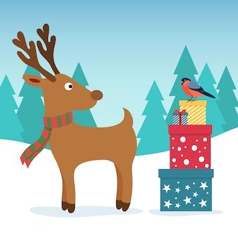 Illustrazione di natale inverno. divertenti cervi e ciuffolotto con scatole colorate regalo.