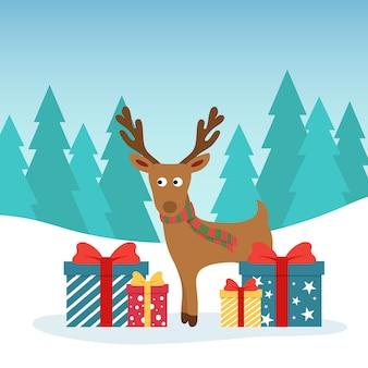Illustrazione di natale inverno. cervo divertente con scatole colorate regalo.