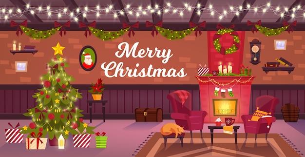 Interiore della stanza di natale invernale con camino, albero di natale, poltrone, scatole regalo, gatto addormentato