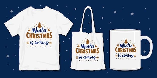Maglietta natalizia invernale merchandise design