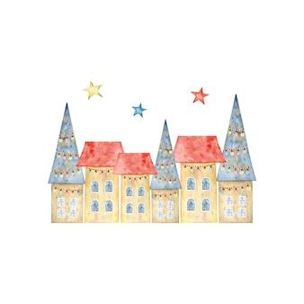 Città d'inverno. illustrazione dell'acquerello Vettore Premium