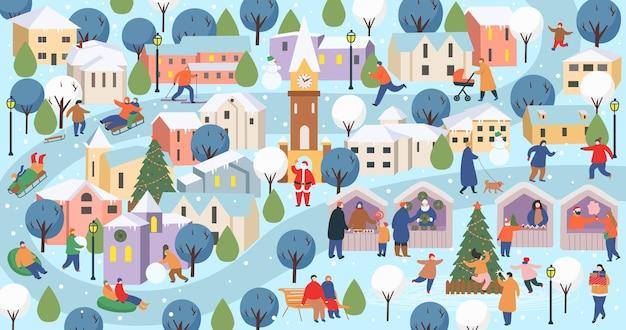 Città d'inverno con persone grande insieme di persone in inverno persone che camminano