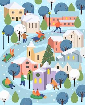Città d'inverno con persone natale nel parco grande insieme di persone in inverno