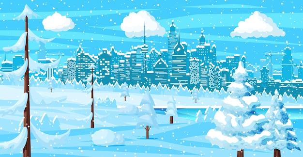 Paesaggio urbano invernale, fiocchi di neve e alberi