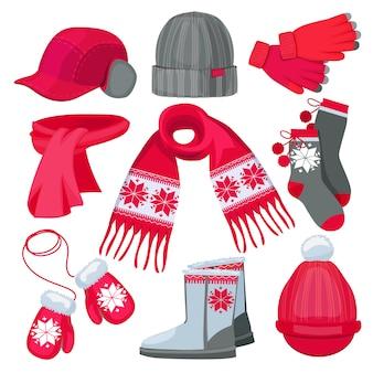Abiti invernali. vestiti di modo di natale della pelliccia dei guanti della sciarpa del cappuccio del cappello isolati sulla raccolta bianca