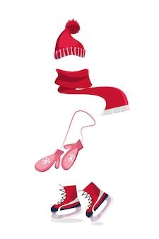 Illustrazione di vestiti invernali, sciarpa calda, guanti, pattini da ghiaccio e berretto isolato su priorità bassa bianca.