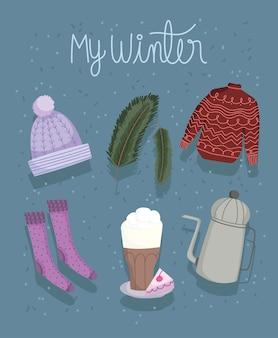 Collezione invernale con cappello maglione calze tazza di cioccolato e icone teiera