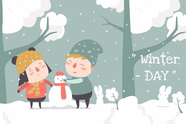 Winter day flat ilustration cute child desin