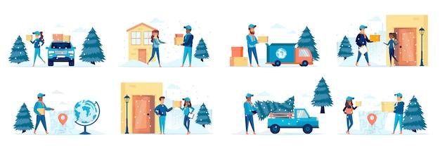 Pacchetto di consegna invernale di scene con personaggi di persone